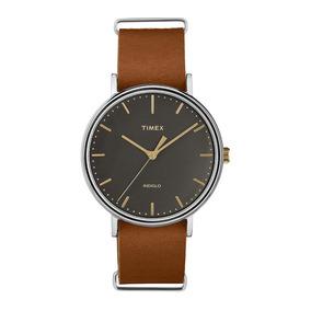 Relógio Timex Weekender Tw2p97900ww/n Pulseira De Couro