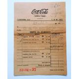 Antigua Y Rara Boleta De Coca Cola Buenos Aires Año 1959