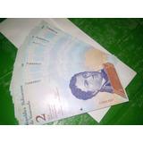 Fajo 100 Billetes 2 Bolívares Fuertes Consecutivos Unc Fauna