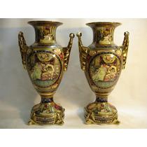 Grande Par De Vasos Ânforas Em Porcelana Europeia Belíssimas