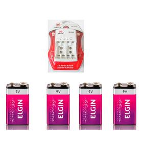 4 Baterias Recarregáveis Elgin 9v + Carregador Mox