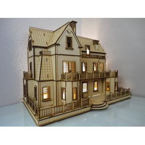 Casa De Muñecas Villa Gotica En Madera Mdf Rompecabezas 3d