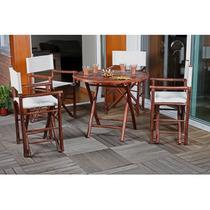 Mesa Jantar Dobrável Bambu + 4 Cadeiras Diretor - Acasa