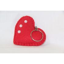 Chaveiros De Coração Em Feltro Vermelho ( 190 Unidades )