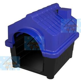 Casinha Plástica Azul Cães N.1 Resistente Pequeno Porte