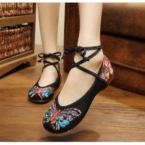 Zapatos Antiguo Chino Flat Bordado Mariposa Ballerina Ballet