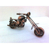 Miniatura Metal Moto Honda Retrô Cobre Envelhecido Enfeite