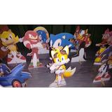 Sonic 10 Peças Display,festa Infantil,mdf 15 A20 Cm