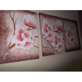 Promoção Quadro De Orquídeas Em Salmão, Tela Pintada A Mão