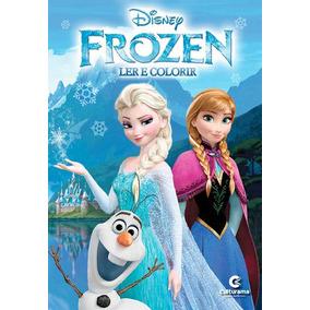 Livro Frozen Disney - Ler E Colorir Com Giz De Cera - Cultur