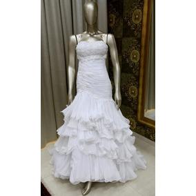 Vestido Noiva Branco Sereia Bordados Vidrilhos Tn-88