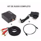 Kit Conversor Óptico Coaxial Digital + Cabo Óptico +cabo Rca
