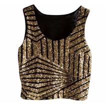 Top Cropped Mini Blusa Roupas Femininas Lantejoula Paete