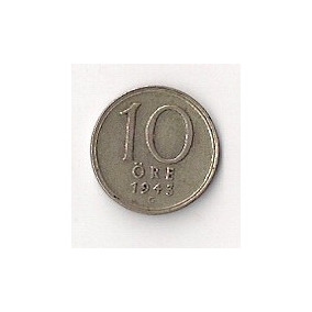 Suecia Moneda De 10 Ore Año 194 De Plata