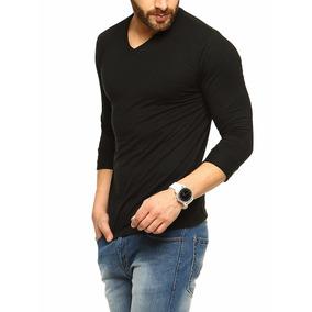 Camisa Camiseta Masculina Gola V Manga Longa Algodao Slimfit