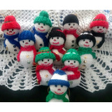 Decoración Navideña, Adornos En Crochet Muñecos De Nieve