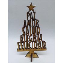3 Arbolitos Navidad De 35cm Palabras Fibrofacil Mdf Arbol