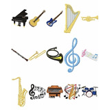 Matriz De Bordado Instrumentos E Notas Musicais Em Pes , Jef