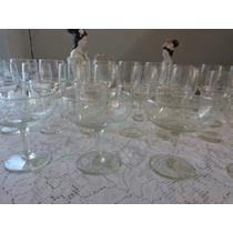 Taças E Copos De Cristal Antigas 38 Peças - Anos 60