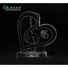 Souvenir Acrílico 15 Años Clave De Sol C/corazon C/tus Datos