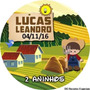 100 Adesivos Latinha Redondos Tema Fazenda Fazendinha