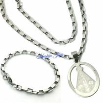 Medalha Nossa Senhora + Cordão + Pulseira, Todos Em Aço Inox