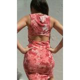 Vestido Al Cuerpo Coral Abertura En Espalda Batik Con Lycra