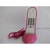 Telefone De Mesa Tipo Sapato Em Strass Rosa Uso Normal
