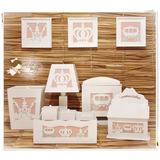 Kit Higiene Bebe Mdf Branco Princesa Decorado Tecido