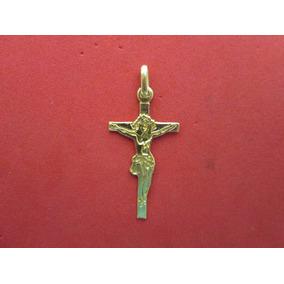Dije Cruz Con Cristo En Oro Solido De 10k.