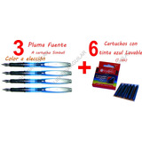 3 Lapiceras Pluma Escolar Simball + 6 Cartuchos Tinta Azul
