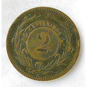 Uruguay, Monedas De 2 Centésimos 1869