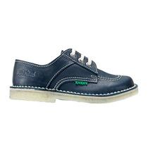 Zapato Para El Colegio De Cuero Kickers Acordonado