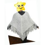 Lindo Poncho De Croche Em Lã Casaco C/ Franja Elegante