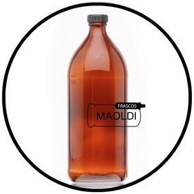 Frasco De Vidrio Ámbar 1 Litro 24 Pzas. (envases, Botella)