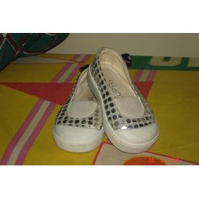 Zapatos Alpargatas Nena Zuppa Lentejuelas Plateadas Talle 21