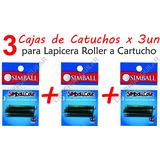 3 Cajas De Cartuchos Para Lapiceras Roller Simball Cole Azul
