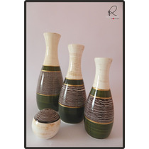 Enfeite Cerâmica Esmaltada - Trio De Vasos E Bola