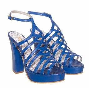 Sandalias Con Taco Mujer Sofi Martire Karla Azul