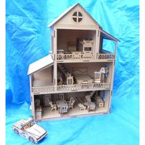 Casa Casinha De Boneca Mdf Para Polly + Móveis + Brinde