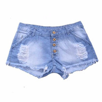 Shorts Femininos Jeans Destroyed Botões Rasgado Verão 2017