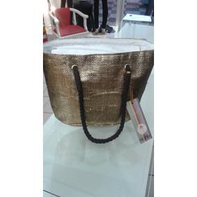 Bolsa Manly Dourada Fibra De Coco