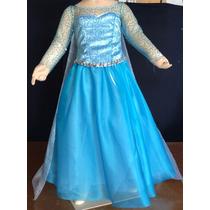 Disfraz Vestido Estilo Elsa Frozen De Lujo