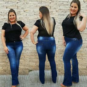 Calça Jeans Feminina Plus Size Flare Tamanhos Grande 46 A 54
