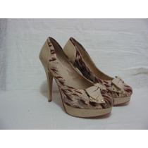 Sapato Salto E Sola Meia Pata Couro E Tecido - Nº 35