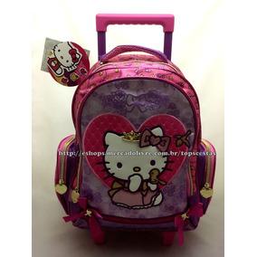 Mochila Média Rodinhas Hello Kitty Princesa Sanrio Original