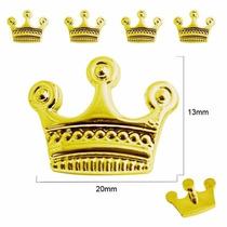 O Mais Barato!!! 50 Un. De Botões Mod. Coroa Douradas