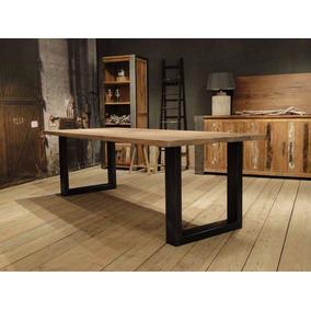 mesa cocina comedor industrial de madera y hierro x
