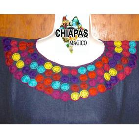 Blusa De Chiapas Bordada A Mano / Talla Mediana / Mezclilla