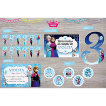 Kit Impreso Frozen Cartel, Banderín, Invitaciones, Stickers
